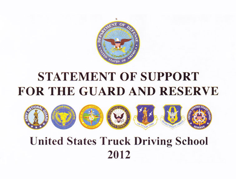 An image of the official letterhead from the USTDS reserve letter that says Statement of Support for the Guard and Reserve.