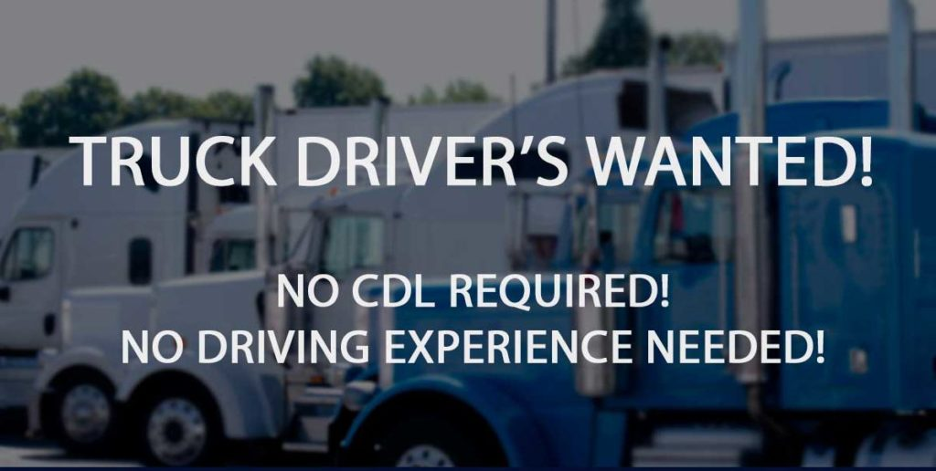 graphic flyer image for trucking job fair. text reads 'truck drivers wanted, no cdl required, no experience needed'
