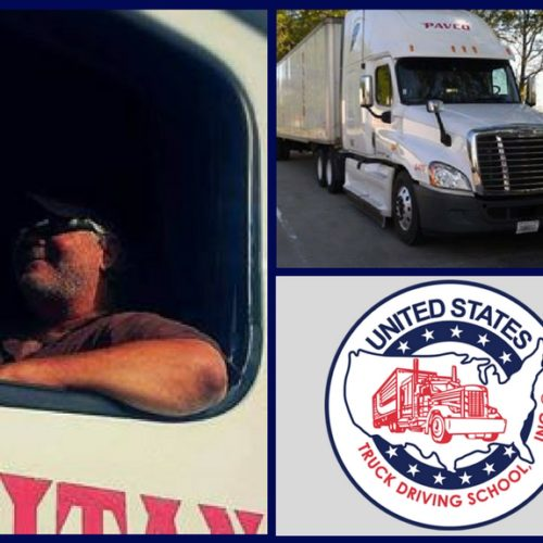 Trucker with semi-truck and USTDS logo