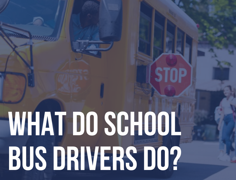 "image of school bus driver leaning out of stopped bus to make sure students are safe. Text over image reads: ""What do school bus drivers do?"""