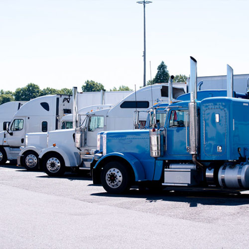 image of white and blue semi trucks lined up and parked in a ro