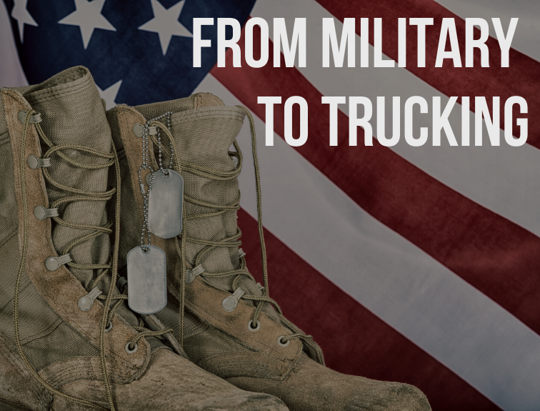"Image of combat boots and dog tags sitting in front of American flag. Text over image reads: ""From military to trucking"""