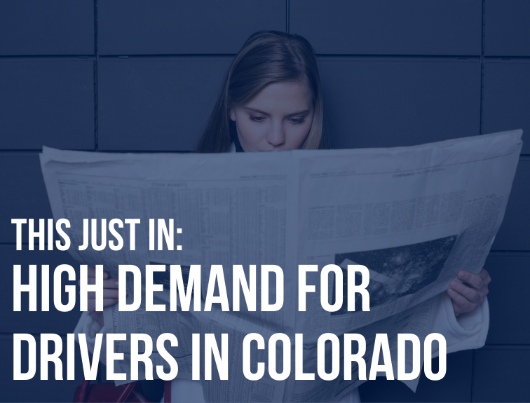 "Photo of women reading a newspaper. Text over image reads: ""This just in: high demand for drivers in Colorado"""